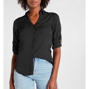 Express Portofino Collard Button Up Shirt w/ Tab Sleeves Pockets Size XS